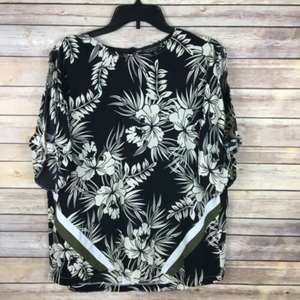 TopShop Blouse 10 Black White Army Green Floral